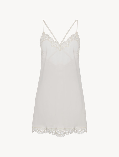Off-white tulle and silk-georgette slip