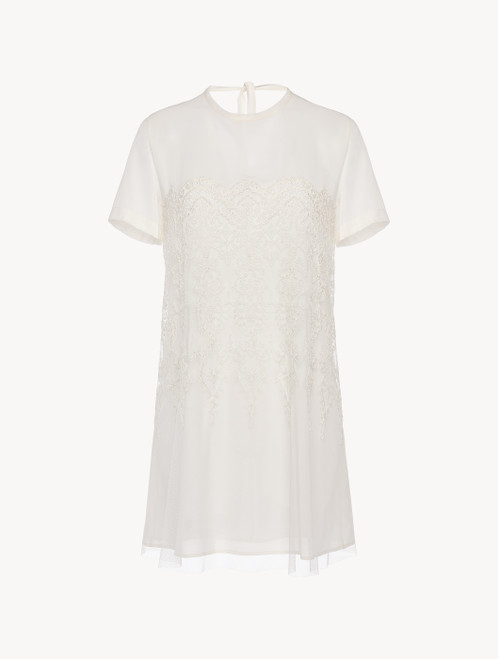 Off-white tulle and silk-georgette short nightgown