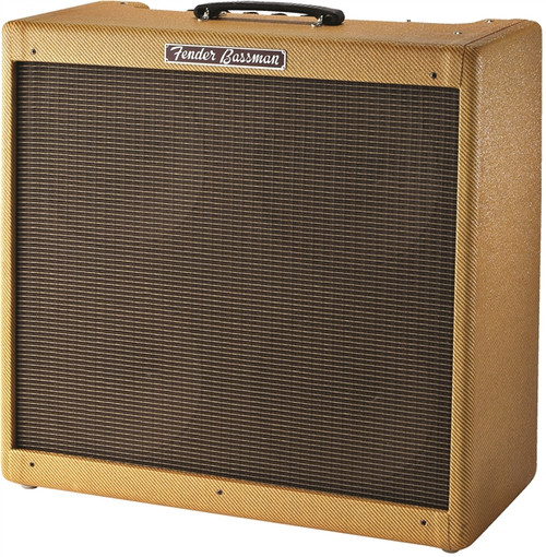 The straightforward Fender 59 Bassman outperforms most of the fancy amps on the market today. In the 1950s, the Bassman was perfect for amplifying that new invention, the Fender Precision Bass. This 50W rig allowed the bass to hold its own onstage with drums, electric guitars, and miked piano, the common instrumentation of the day. Over the years, it also won the hearts of guitarists who, after experimenting with all kinds of preamps and effects racks, found its simplicity, great tone, excellent dispersion, and touch-sensitive dynamics a true pleasure. This reissue is true to the original while adding several enhancements: U.S.-made GT-6L6 output tubes, improved 12AX7 preamp tubes, and an internal bias pot, making it easier to experiment with other output tubes. It also features a genuine lacquered tweed covering, solid finger-jointed pine cabinet, and an original-spec 4AR4 rectifier tube for natural compression when you play hard. Includes fitted cover.