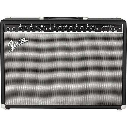 "Fender Champion 100 Guitar Combo Amp at a Glance: Two channels and selectable voicing give you a universe of tone Polish your tone with great-sounding onboard effects Classic Blackface styling adds that classic Fender touch Two channels and selectable voicing give you a universe of tone Serving up classic Fender cleans and overdrive, plus a selection of British and modern amp voicings and distortion flavors, the 2-channel Fender Champion 100 has you covered for any gig. Channel one gives you classic Fender clean tones based on amps like the Twin Reverb, while channel two has selectable amp voicing. And with 100 watts through two Fender 12"" Special Design speakers, you'll own the stage - any stage.  Polish your tone with great-sounding onboard effects The Fender Champion 100 provides you with a slew of built-in effects to polish your tone, including reverb, delay/echo, chorus, tremolo, Vibratone, and more. And you can easily match the effects to the tempo of your playing for perfectly synced rhythmic effects. You also get an effects loop for use with your favorite pedals, an aux input for jamming along with your media player, and a headphone output for silent practice.  Classic Blackface styling adds that inimitable Fender touch No Fender guitar amplifier would be complete without a dose of style, and the Champion series doesn't disappoint. With a black ""Bronco"" vinyl covering with silver grille cloth, plus black vintage-style skirted control knobs, the Fender Champion 100 offers old-school Fender amp vibe that's a perfect match for its sonic character.  Fender Champion 100 Guitar Combo Amp Features: 100-watt solid-state combo amp with 2 x 12"" Fender Special Design speakers 2 channels (Blackface clean and selectable amp voicing) 1 x 1/4"" instrument input, 1 x 1/8"" stereo aux input for use with media player, and 1 x 1/8"" stereo headphone jack Effects include reverb, delay/echo, chorus, tremolo, Vibratone, and more Delay time and tremolo speed can be set with Tap button Effects loop (preamp out, power amp in) for use with outboard effects Included 2-button footswitch Get amazing value, style, and performance with the Fender Champion 100!"