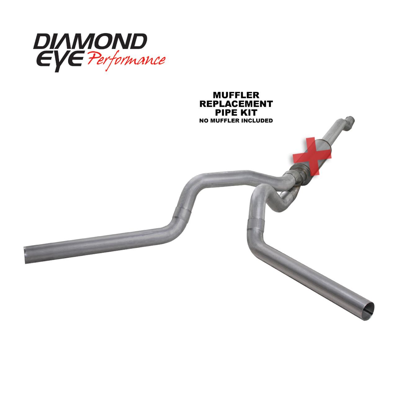 Diamond Eye 4 inch Alumized Dual Cat-Back Exhaust No Muffler 2003-2007 6.0 Powerstroke