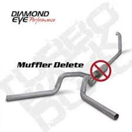 Diamond Eye 4 inch Dual Turbo Back Aluminized Exhaust No Muffler 1999-2003 7.3 Powerstroke