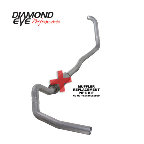 Diamond Eye 4 inch Aluminized Exhaust No Muffler 2003-2007 6.0 Powerstroke