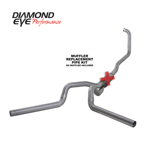 Diamond Eye 4 inch Dual Stainless Exhaust No Muffler 2003-2007 6.0 Powerstroke