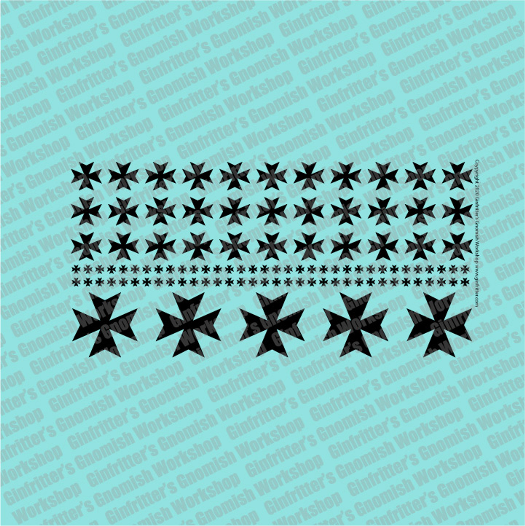 Ginfritter/'s  WARCRO026 Prime Scale Iron Cross #2 Decal White Warhammer