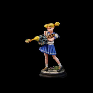 54mm Scale (2.25 inches tall) Anime School Girl with her gun: the HAM-HAMMER 3000.