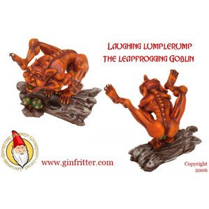 Leapin' Lumplerump, The Laughing Goblin is a creature from the fairy realm that Gnomish Mothers use to scare their little children into behaving. Lumplerump bounds through the forest with his hyena like laugh.It has been told that his laugh is infectoius and can cause a wanderer in the forest to get confused and never return! This miniature is a two part model. Leapin' Lumplerump, The Laughing Goblin is sculpted by Gene Van Horne. (For those of you who are going to ask. . . That is a loin cloth hanging down.)