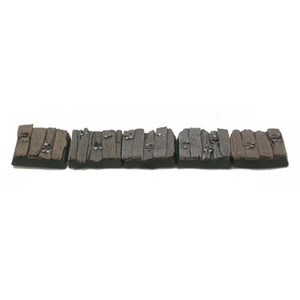 Five 20mm square distressed wooden plank bases designed by Ginfritter. Bases supplied unpainted.