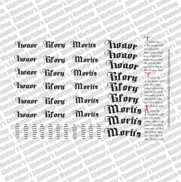 WARSRP009 Large Scale Gothic Scripts and Scrolls #3 waterslide Decal