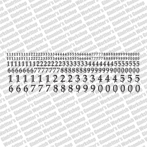 High Gothic Numerals Waterslide Decals