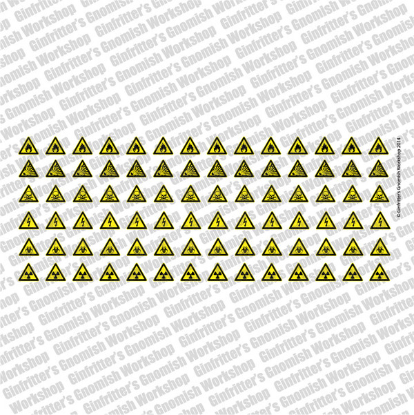 WARN009 Hazard Signs Waterslide Decal