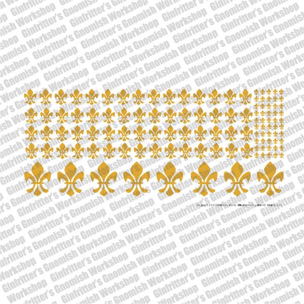 Fleur-de-lis #1 Waterslide Decal Transfer - Gold