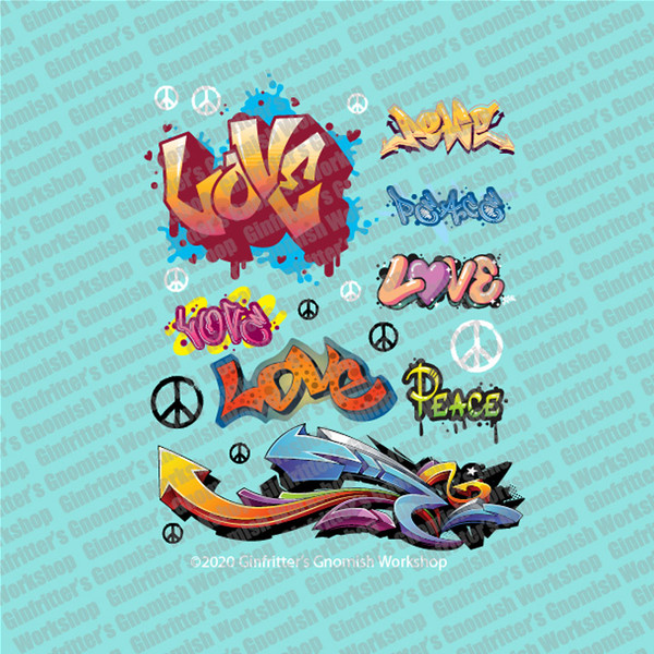 GRAFF001 Love, Peace & Arrows Graffiti