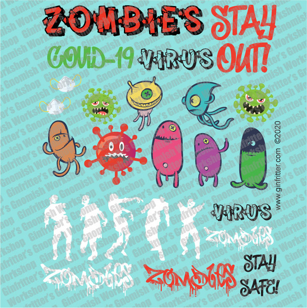 GRAFF003 Zombies & Virus Graffiti Decal