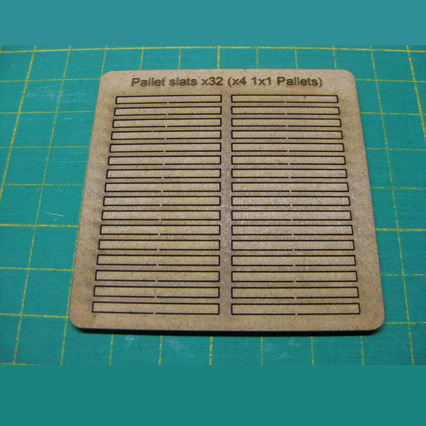"SBD001 Terrain Crates and Pallets (small) - 1"" Square Shipping Crates (x4) and 1"" square Pallets (x4) Sheet #2"
