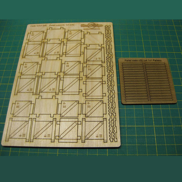 "SBD001 Terrain Crates and Pallets (small) - 1"" Square Shipping Crates (x4) and 1"" square Pallets (x4) - Two Sheets"