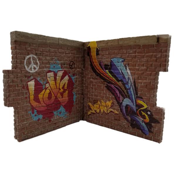 GRAFF001 Love, Peace & Arrows Graffiti example on brick walls - not included.