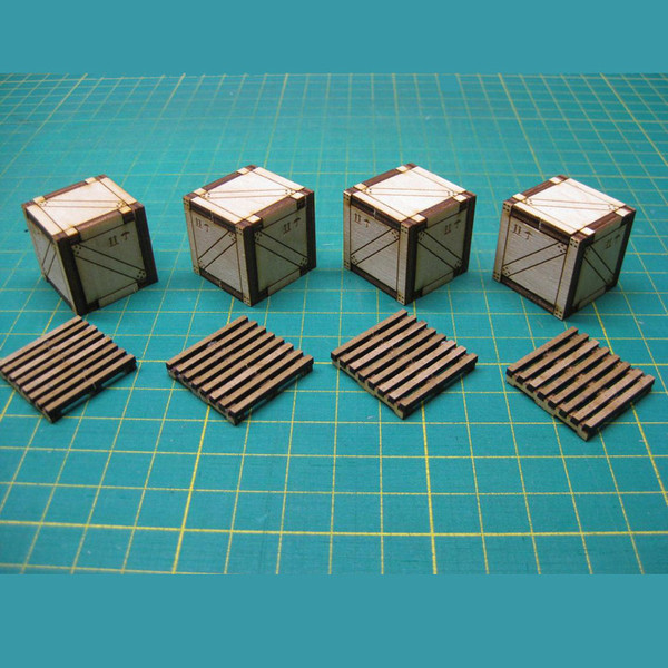 "SBD001 Terrain Crates and Pallets (small) - 1"" Square Shipping Crates (x4) and 1"" square Pallets (x4) assembled samples"