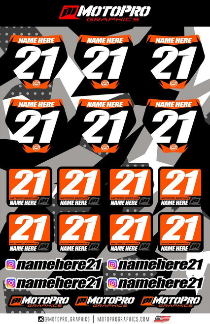 MotoPro Graphics Rider Decal Kit - Style 1 Black Backgrounds