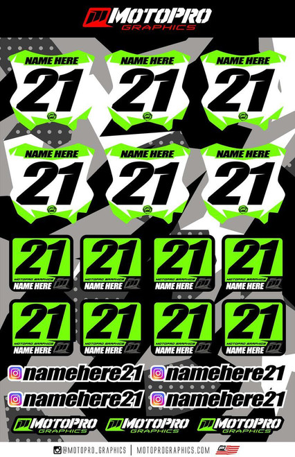 MotoPro Graphics Rider Decal Kit - Style 1 White Backgrounds