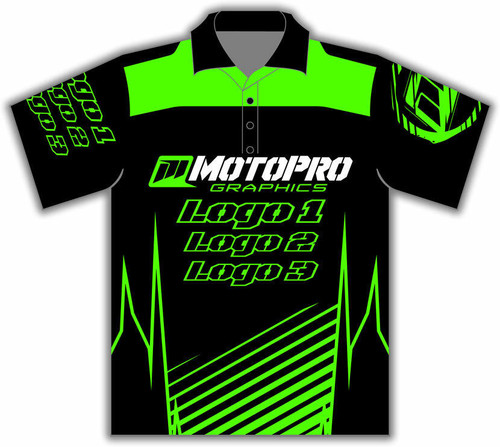 MotoPro Racing Customizable Pit Shirt - Clean Lines Green