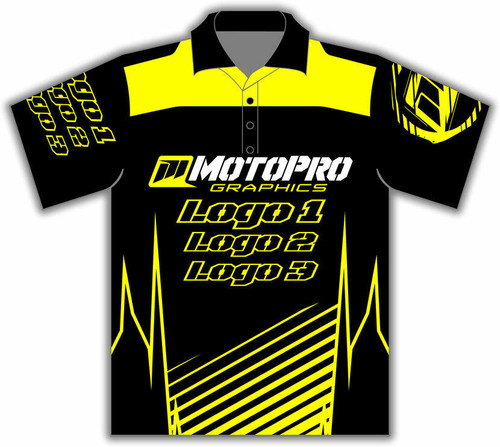 MotoPro Racing Customizable Pit Shirt - Clean Lines Yellow