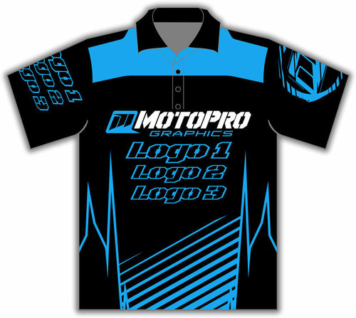 MotoPro Racing Customizable Pit Shirt - Clean Lines Light Blue