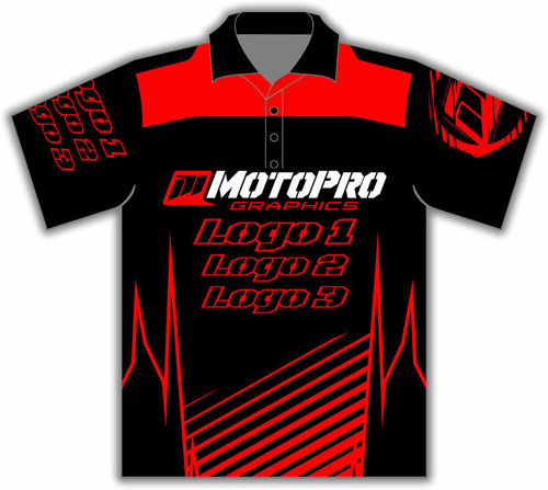 MotoPro Racing Customizable Pit Shirt - Clean Lines Red