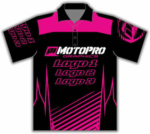 MotoPro Racing Customizable Pit Shirt - Clean Lines Pink