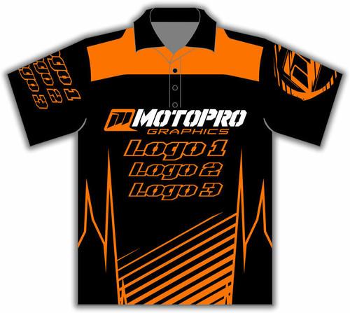 MotoPro Racing Customizable Pit Shirt - Clean Lines Orange