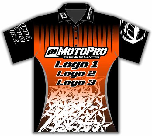 MotoPro Racing Customizable Pit Shirt - Orange Stars