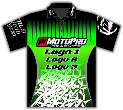 MotoPro Racing Customizable Pit Shirt - Green Stars