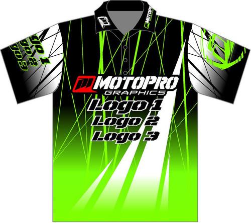 MotoPro Racing Customizable Pit Shirt - Green Electro