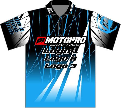 MotoPro Racing Customizable Pit Shirt - Light Blue Electro