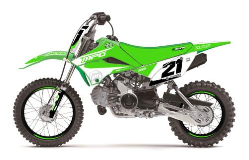 MotoPro Graphics Kawasaki KLX110 Pit Bike Dumpin White Series Graphics