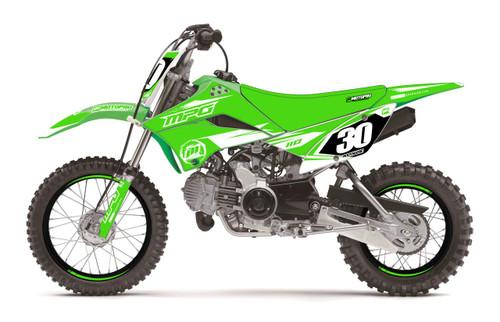 MotoPro Graphics Kawasaki KLX110 Pit Bike FORCE White Series Graphics