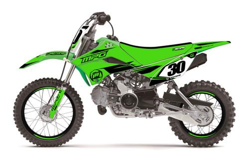 MotoPro Graphics Kawasaki KLX110 Pit Bike FORCE Green Series Graphics