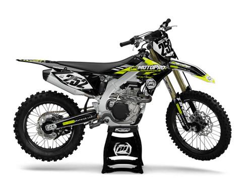 MotoPro Graphics Suzuki Dirt Bike Evader Series Hi-Viz Fluorescent Yellow Graphics