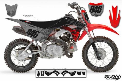 MotoPro Graphics Honda CRF110 Pit Bike BURNOUT Black Grey Red V2 Series Graphics