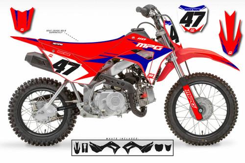 MotoPro Graphics Honda CRF110 Pit Bike FACTORY RED BLUE Series Graphics