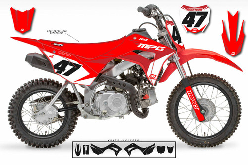 MotoPro Graphics Honda CRF110 Pit Bike FACTORY RED BURG Series Graphics