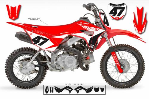 MotoPro Graphics Honda CRF110 Pit Bike FACTORY RED WHITE Series Graphics