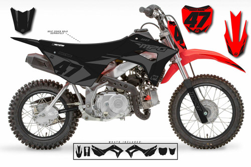 MotoPro Graphics Honda CRF110 Pit Bike FACTORY STEALTH Series Graphics