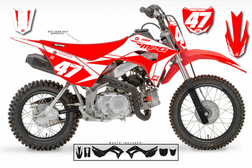 MotoPro Graphics Honda CRF110 Pit Bike FACTORY WHITE STEALTH Series Graphics