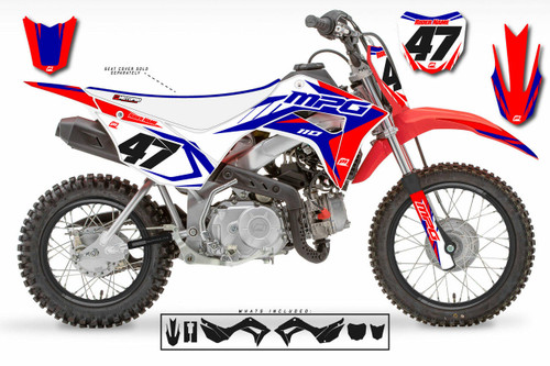 MotoPro Graphics Honda CRF110 Pit Bike STRIKER RED WHITE BLUE Series Graphics