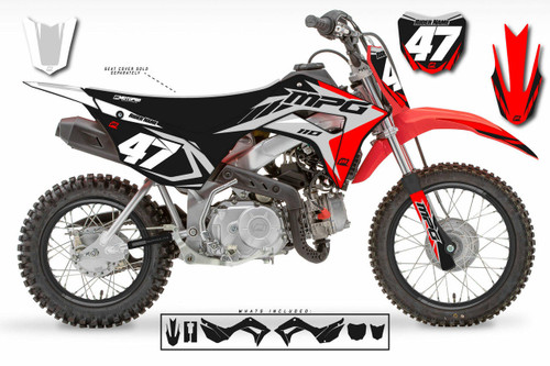 MotoPro Graphics Honda CRF110 Pit Bike STRIKER RED GREY BLACK Series Graphics