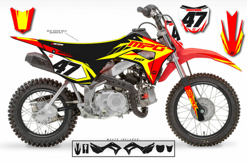 MotoPro Graphics Honda CRF110 Pit Bike STRIKER RED YELLOW BLACK Series Graphics