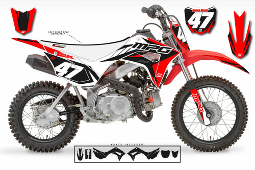 MotoPro Graphics Honda CRF110 Pit Bike STRIKER RED WHITE BLACK Series Graphics