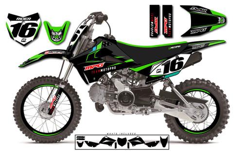 MotoPro Graphics Custom Kawasaki KLX110 Pit Bike ENERGY Series Graphics - FREE SHIPPING