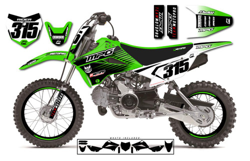 MotoPro Graphics Custom Kawasaki KLX110 Pit Bike FACTORY Series Graphics - FREE SHIPPING